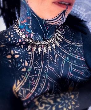Heavy blackwork tattoos, tatooe women, deity tattoo, camden tattoo studio, geometric tattoo artists in london, dotwork tattoo artists in london, besy dotwork tattooists, best geometric tattoo artists, dotwork tattoo in london geometric tattoo in london, ethnic jewellery in london, festival style. indian jewellery, best dotwor in brghton, best geometric in brighton, best tattoo artists in london, beautiful dotwork tattoos