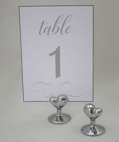 Silver Heart Table Number Holder