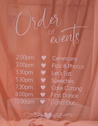 A3 Wedding Order of Events Acrylic Sign