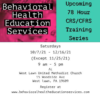10/7/21 - 12/16/21 - 78 Hour CRS/CFRS Training Program