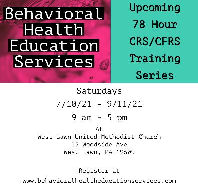 7/10/21 - 9/11/21 - 78 Hour CRS/CFRS Training Program