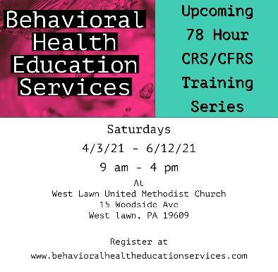 4/3/21 - 6/12/21 - 78 Hour CRS/CFRS Training Program