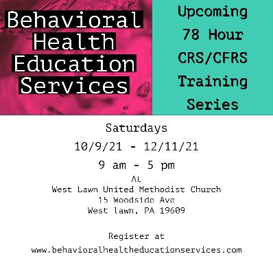 10/9/21 - 12/11/21 - 78 Hour CRS/CFRS Training Program