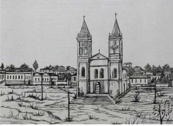 Desenho da já demolida Igreja Nossa Senhora do Rosário, onde hoje está prédio da Prefeitura de Passos