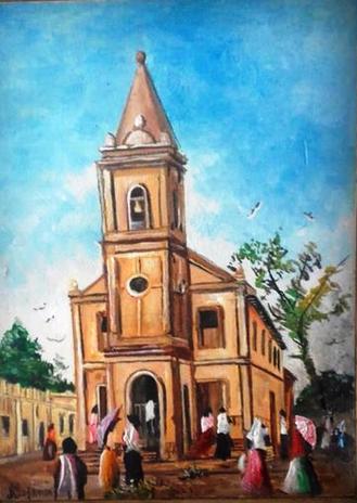 Raro desenho em nanquin e aquarela da Igreja Santo Antonio, já demolida no centro de Passos. Maurício desenha a partir de fotos antigas