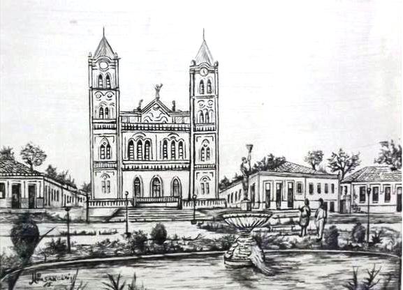 Desenho das imediações da Praça da Matriz na década de 1950