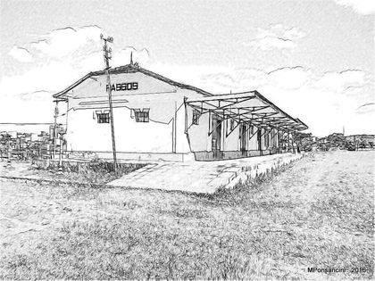 Desenho da antiga estação ferroviária, prédio que sedia a Estação Cultura atualmente, produzido em 2016 por Ponsancini