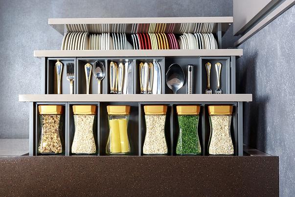 Modern kitchen countertop with food ingr