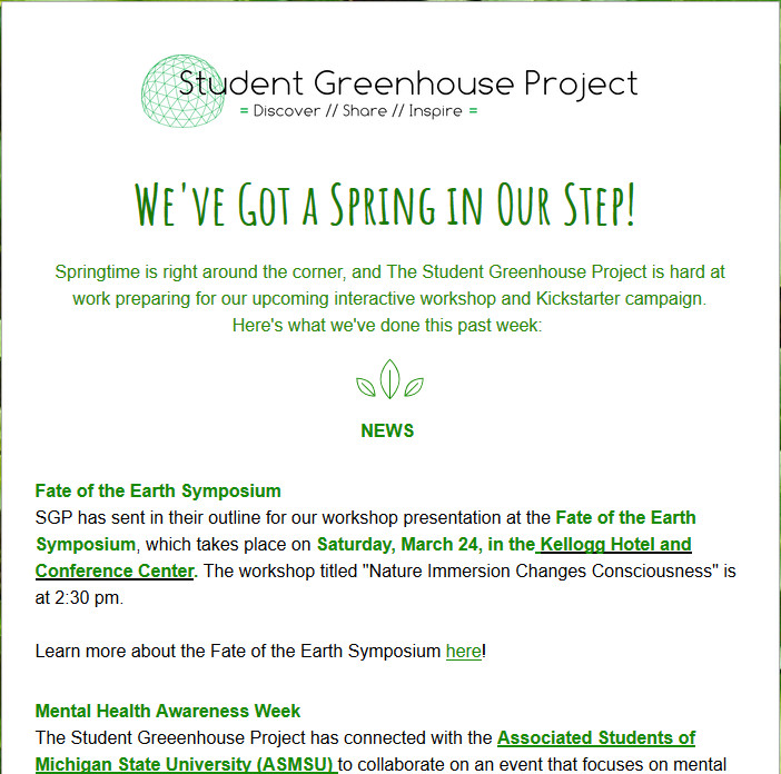 Student Greenhouse Project | East Lansing, MI | Our Newsletters
