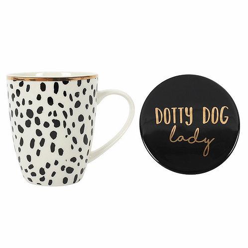 Dotty Dog Lady Mug & Coaster