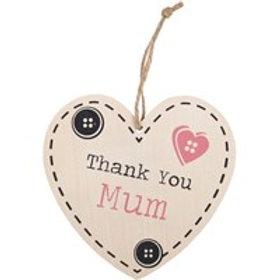 Thank You Mum Hanging Heart