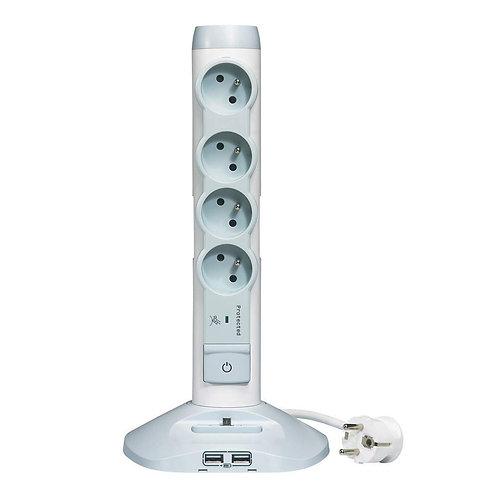 Rallonge Multiprise et USB Verticale avec Parafoudre Intégré
