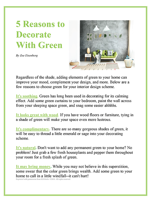 Ad Sponsor- Decorate with Green
