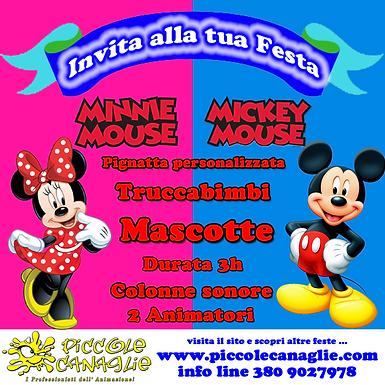 Animazion Bambini Festa a Tema Minnie e Topolino Volantino Festa