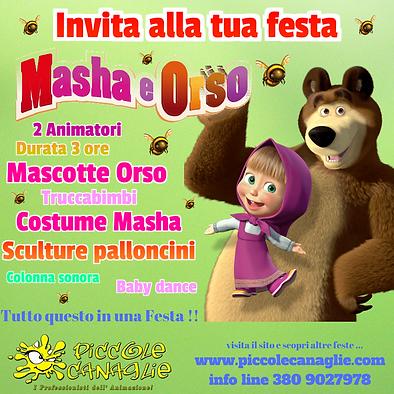 Animazion Bambini Festa a Tema Masha e Orso Volantino Festa