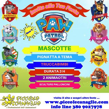 Animazion Bambini Festa a Tema Paw Patrol Volantino Festa