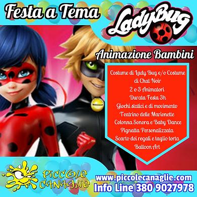 Animazion Bambini Festa a Tema Lady Bug Volantino Festa