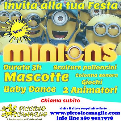 Animazion Bambini Festa a Tema Minions Volantino Festa