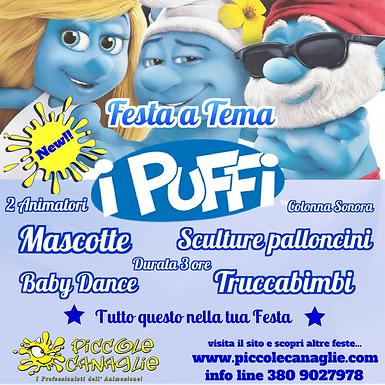 Animazion Bambini Festa a Tema i Puffi Volantino Festa