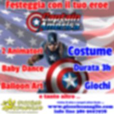 Animazion Bambini Festa a Tema Captain America Volantino Festa