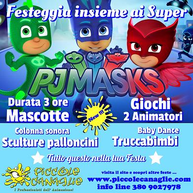 Animazion Bambini Festa a Tema Super Pigiamini Volantino Festa