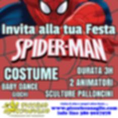 Animazion Bambini Festa a Tema Spiderman Volantino Festa