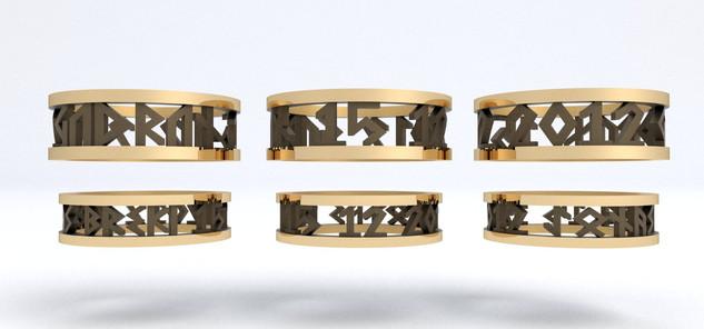 RÚNIR Guld med Sort Rhodium