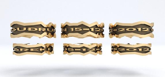 CLAM Guld med Sort Rhodium
