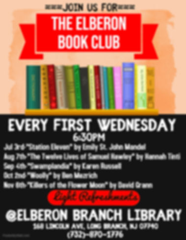 Elberon Book Club Flyer - July Thru Dece
