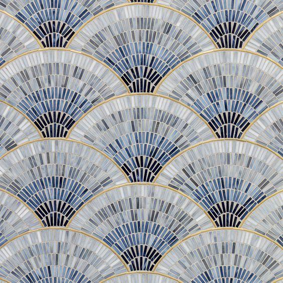 мозаика веер голубой из стекла