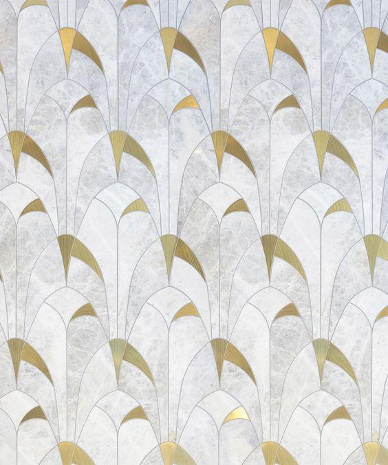 мозаика мраморная с латунью
