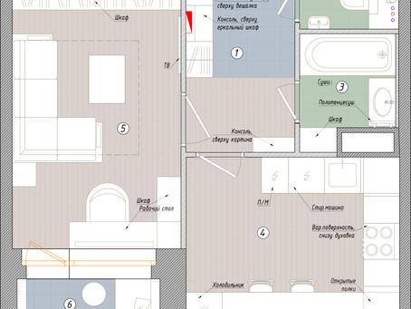 Планировка однокомнатной квартиры в ЖК Twin House