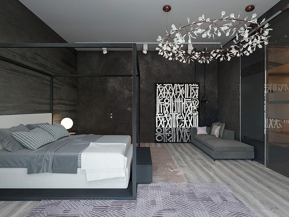 Стильный черный темный дизайн интерьера спб