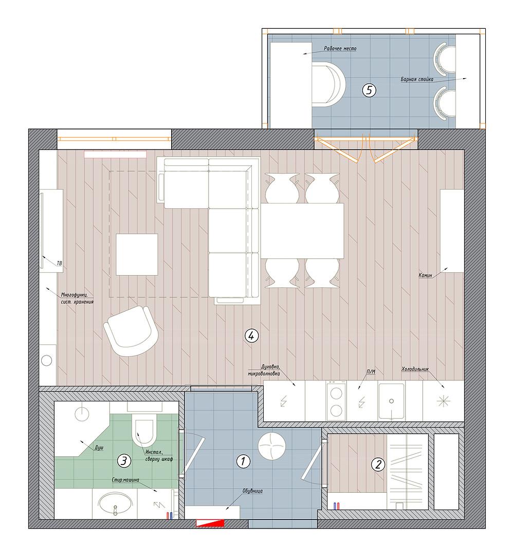 планировка квартиры-студии кремлевские звезды