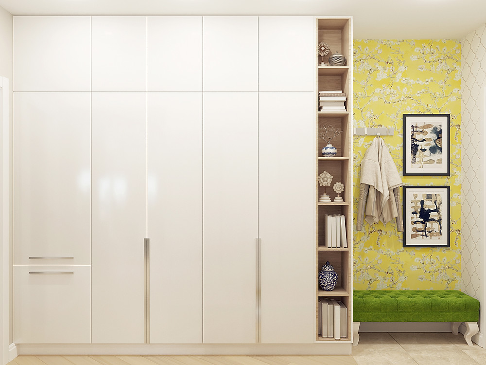 дизайн узкой прихожей шкаф