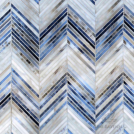 мозаика синий белый стекло