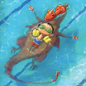 dragon & boy swim in pool.png