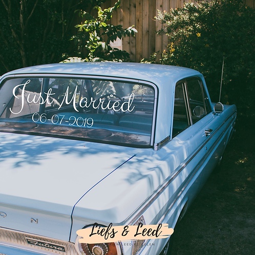 Gepersonaliseerde sticker: Just Married & trouwdatum