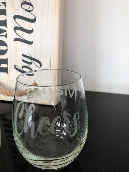 Wijnglas gegraveerd: Cheers mam