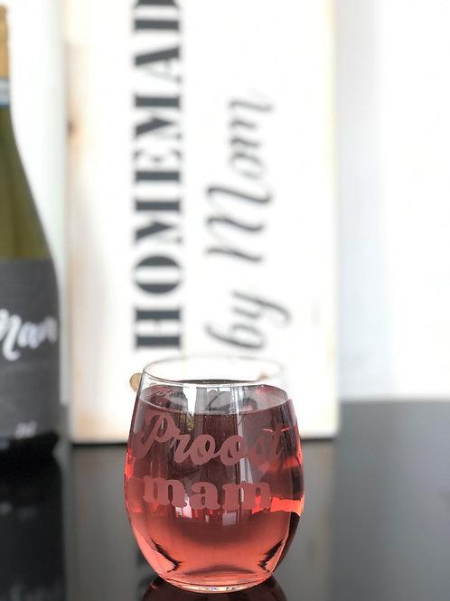 Wijnglas gegraveerd: Proost mama