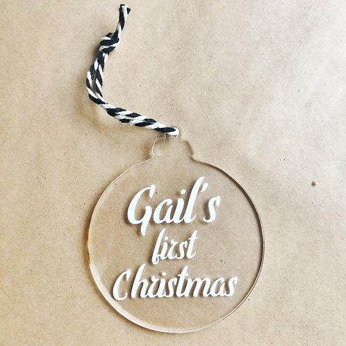 Kerstbal plexiglas met tekst