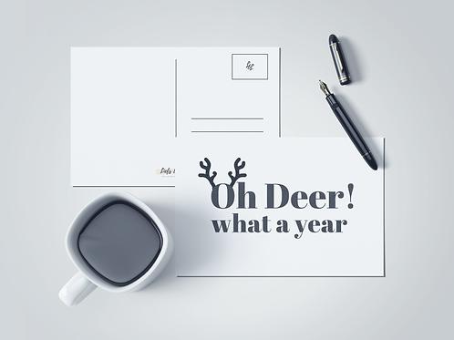 Kerstkaart: Oh deer what a year