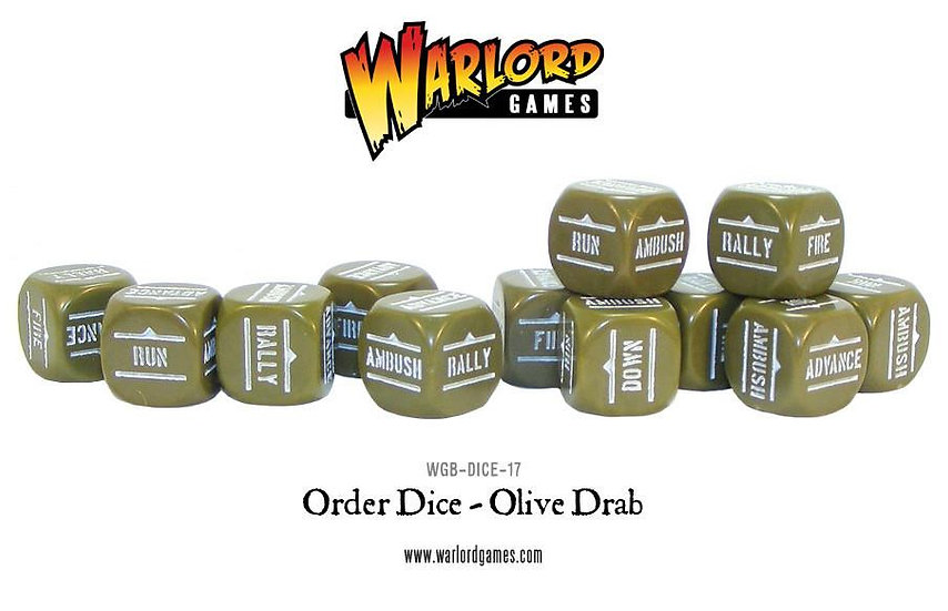 Bolt Action Order Dice (Olive-Drab) x 12