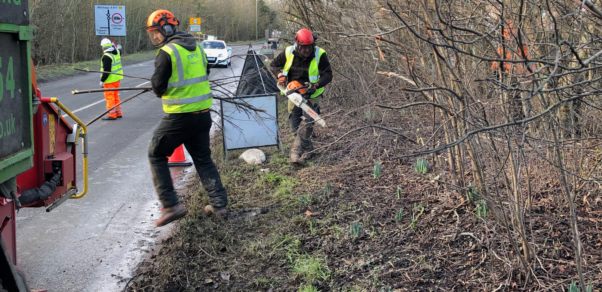 road side hedge removal in wantage