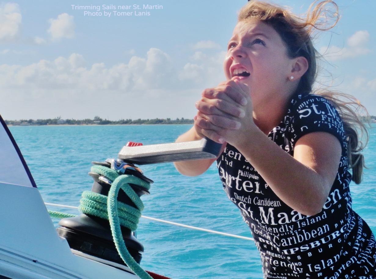 Trimming Sails near St Martin