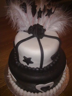 2 tier black and white birthday cake