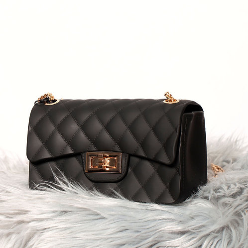 mini jelly bag with gold chain strap; can be worn as shoulder bag or cross body..
