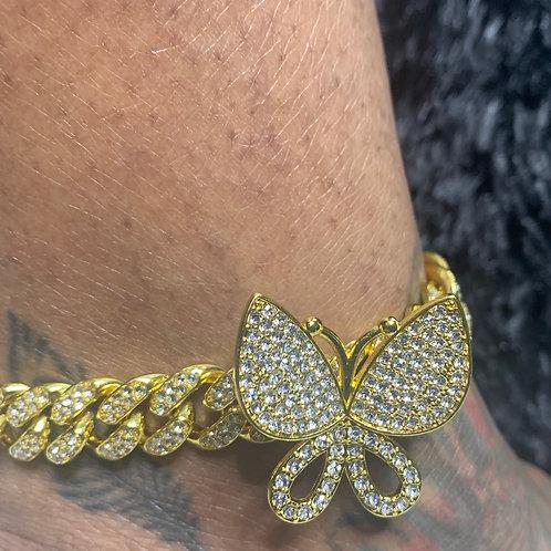 Single Butterfly Cuban Link Anklet