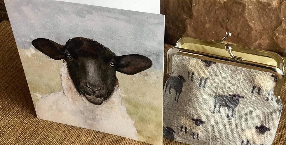 Sheep Snap Pocket Purse with coordinating Sheep Card