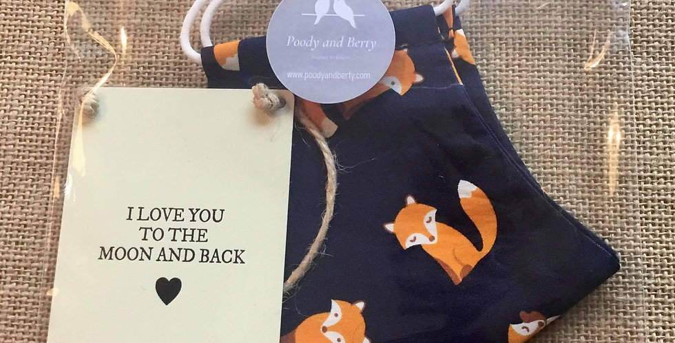 Navy Fox Face Mask and mini sign  gift